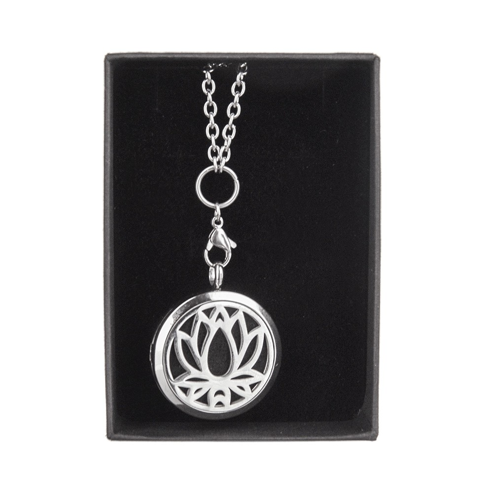 NECKLACE Essential Oil Silver Lotus
