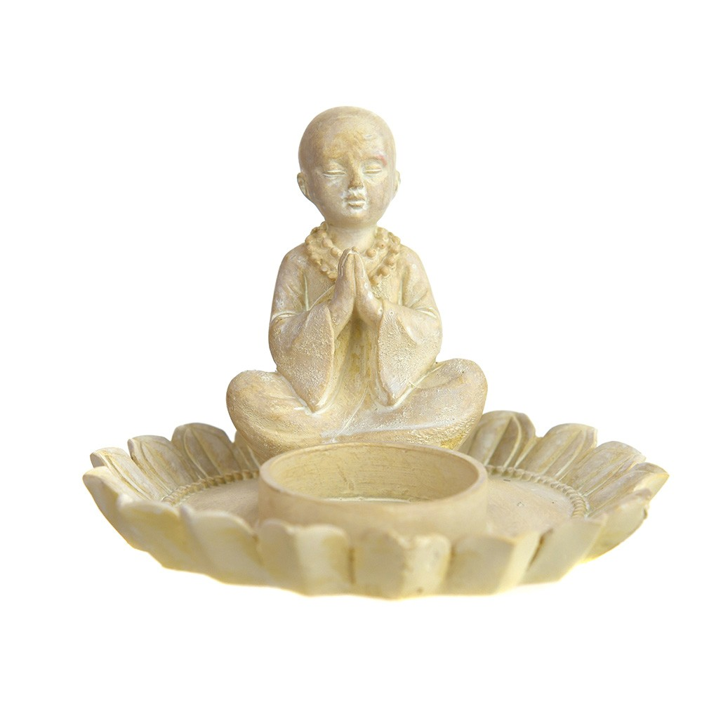 TEALIGHT HOLDER Monk with Lotus White 9x12.5cm