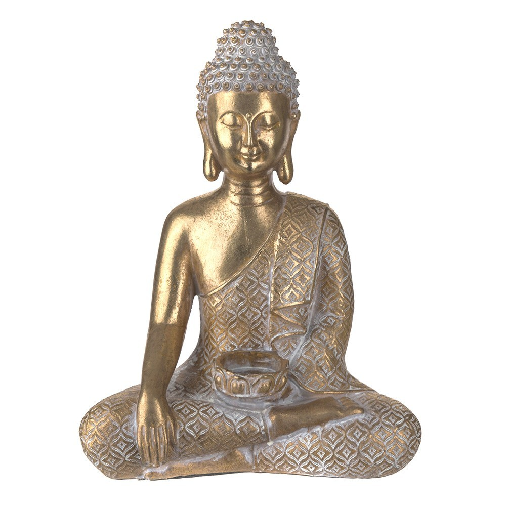 STATUE Buddha Sitting with Tealight Gold/White 30.5x23cm