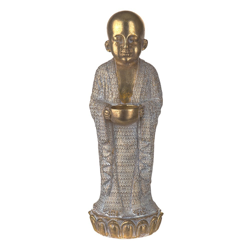 STATUE Monk Standing Gold/White 35x15.5cm