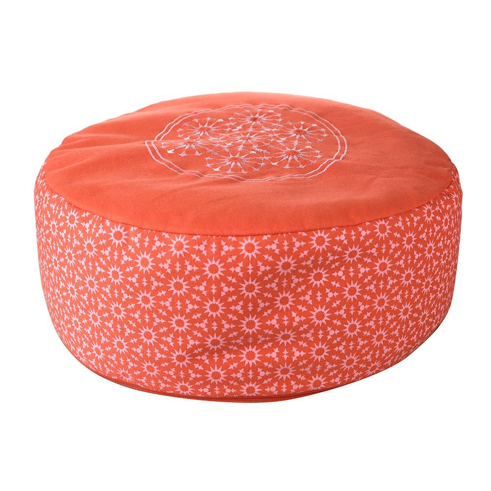 CUSHION Round Coral/White 36x15cm