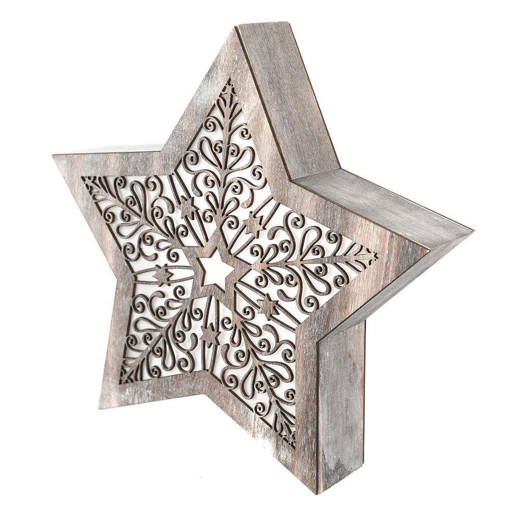 STAR with LED Antique White Carving 28x6x26cm