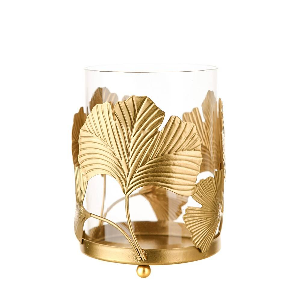 TEALIGHT HOLDER Ginko Gold 13x9.5cm