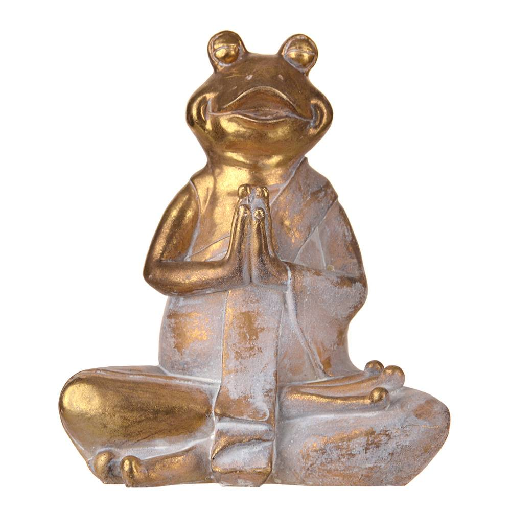 STATUE Frog Hands In Prayer Gold/White 25.5x21cm