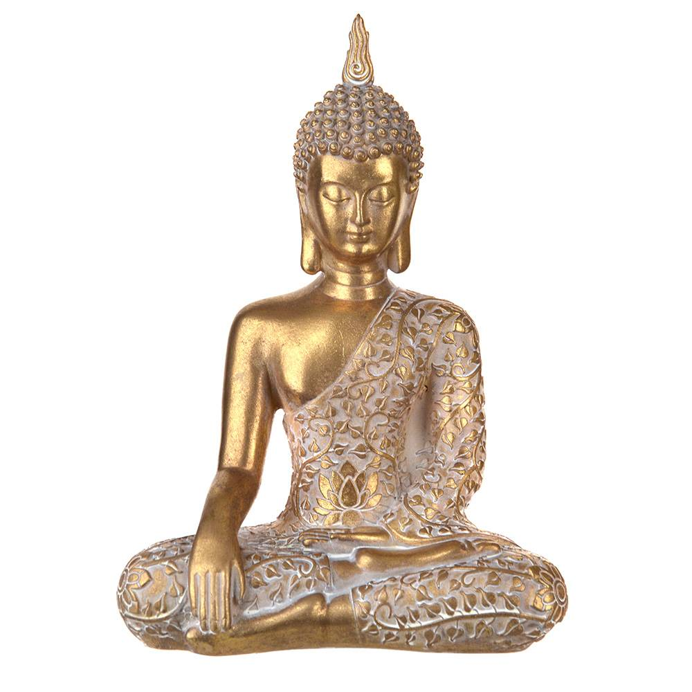 STATUE Buddha Sitting Floral Gold/White 32x22.5cm