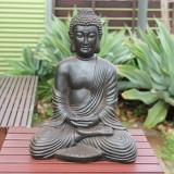 STATUE Buddha Antique Brown Sitting Hands in Lap 65cm