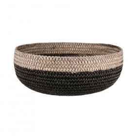 BASKET Round Jute Bleach/Black 23x9cm