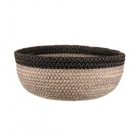 BASKET Round Jute Bleach/Black 25x10cm