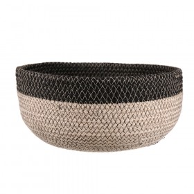 BASKET Round Jute Bleach/Black 26x12cm