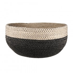 BASKET Round Jute Bleach/Black 29x14cm