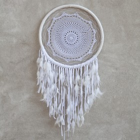DREAM CATCHER White Crochet with Feather 32x103cm