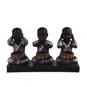 STATUE Monks Polyresin See, Hear, Speak 26.5x8.6x15.5cm