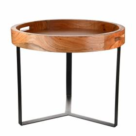 TABLE Kwakoli Round Wood with Metal Legs 50x50x43cm