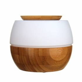 DIFFUSER Aroma Glass White with Bamboo Base Round LED 16x13cm