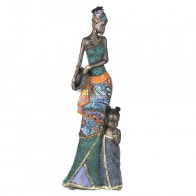 STATUE African Lady Standing with Child 42x15cm