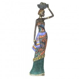 STATUE African Lady Standing with Bowl 43x14cm
