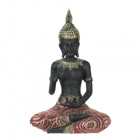 STATUE Buddha Sitting Black/Red 32x21cm