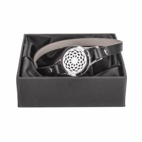 BRACELET Essential Oil Black Leather Mandala