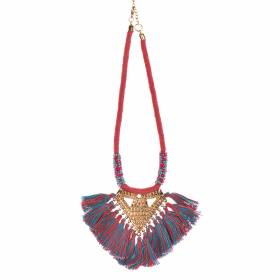 NECKLACE Pink/Blue with Fringe