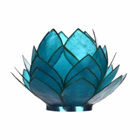 CABBAGE Capiz Tealight Holder Aqua