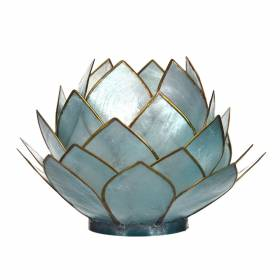 CABBAGE Capiz Tealight Holder Light Blue
