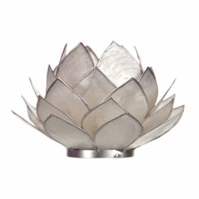 CABBAGE Capiz Tealight Holder Pearl Silver with Silver Trim