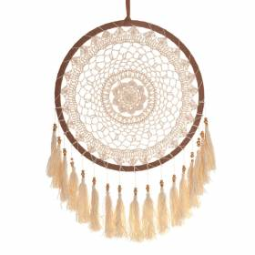 DREAM CATCHER Crochet Tan with White Tassles 32x60cm