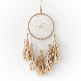 DREAM CATCHER Crochet Tan Suede with 5 Tassles 9x28cm