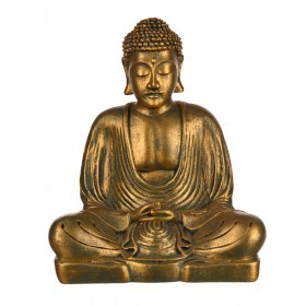 BUDDHA Sitting Antique Green Gold Resin 18x12.5x21cm