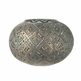 TEALIGHT HOLDER Metal Round Diamond with Blue Wash