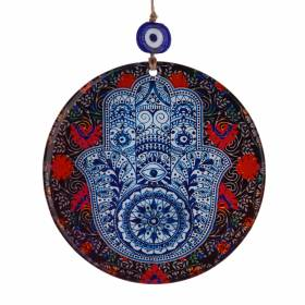 HAMSA Blue with Red/Black Glass Round 16cm