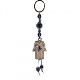 KEY RING Hamsa with Evil Eyes