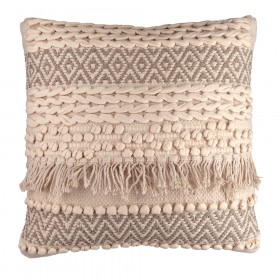 CUSHION Square White/Natural Mixed Texture 45cm
