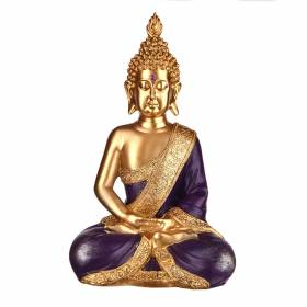 STATUE Buddha Sitting Gold/Purple 30x17cm