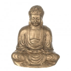 STATUE Buddha Sitting Antique Gold 14x12cm