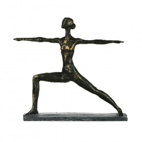 STATUE Yoga Lady Warrior Pose 30.5x34.7cm