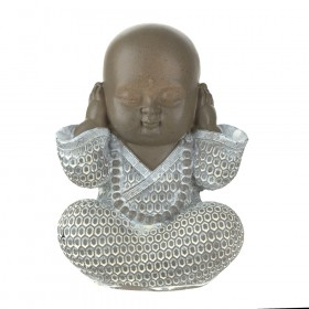 STATUE Monk Hear No Evil Brown/White 16.5cm