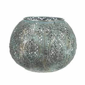 TEALIGHT HOLDER Metal Round with Blue Grey Wash 13.5x10.5cm
