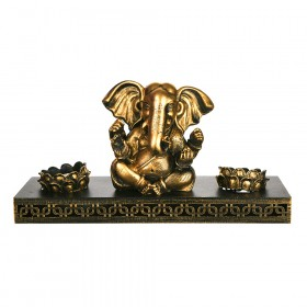 TEALIGHT HOLDER SET Ganesha Antique Gold 13.5x30cm