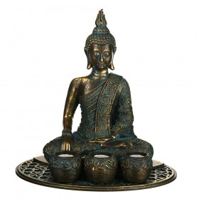 TEALIGHT HOLDER SET Buddha Bronze/Blue 34x34.5cm