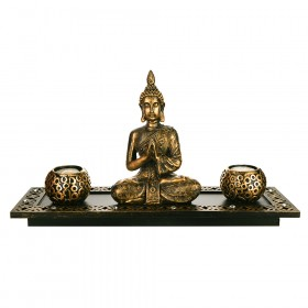 TEALIGHT HOLDER SET Buddha Antique Gold 18x41cm