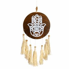 WALL HANGING Wood Hamsa with White Tassels 13x40cm