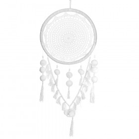 DREAM CATCHER White Crochet with Pom Pom 40x100cm