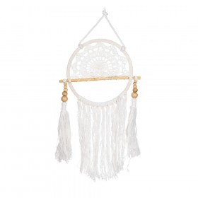 DREAM CATCHER White Crochet with Tassels 20x45cm