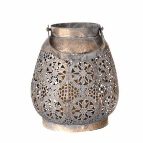 LANTERN Circle Stars with Handle Lg 18.4x20.5cm Antique