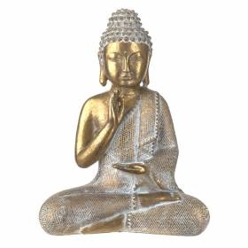 STATUE Buddha One Hand Prayer Gold/White 26x20cm