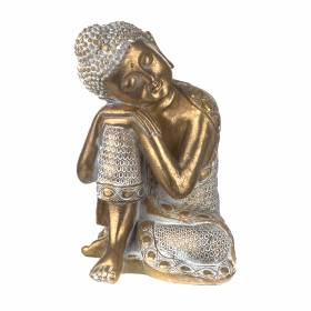 STATUE Buddha Head On Knee Gold/White 24.6x17.5cm