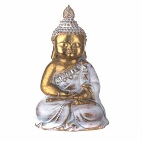 STATUE Buddha Hands In Lap Gold/White 21.5x13.5cm