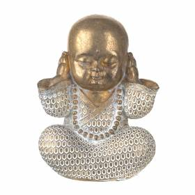 STATUE Monk Hear No Evil Gold/White 16.5x12cm