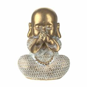 STATUE Monk Speak No Evil Gold/White 16.5x12cm
